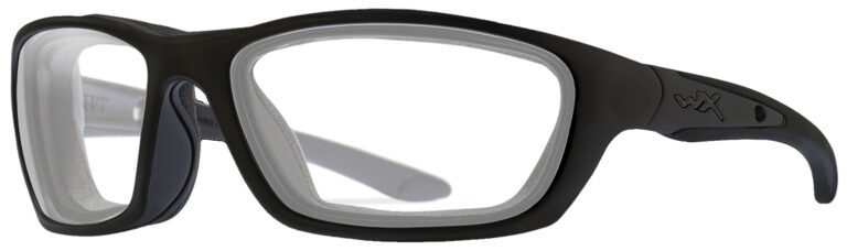 Wiley X Brick Sunglasses in Matte Black Frame, Angled to the Side Left