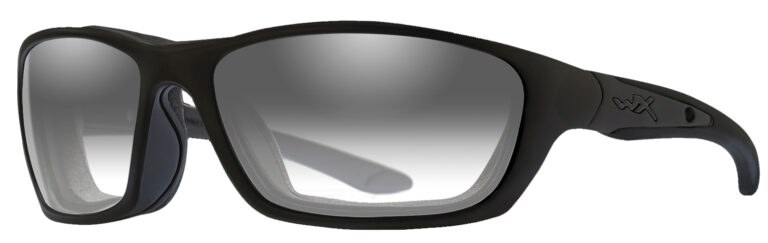 Wiley X Brick Sunglasses in Matte Black Frame with LA Adjusting Smoke Grey Lenses, Angled to the Side Left