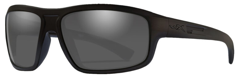Wiley X Contend in Black Ops Matte Black Frame with Grey Lens, Angled to the Side Left