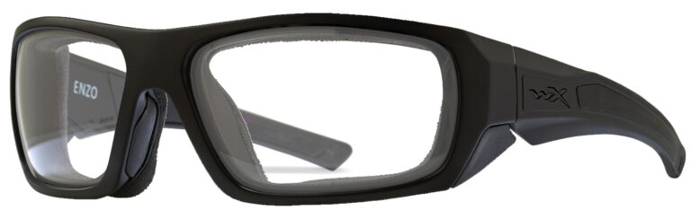 Wiley X Enzo in Matte Black Frame with Clear Lenses, Angled to the Side Left