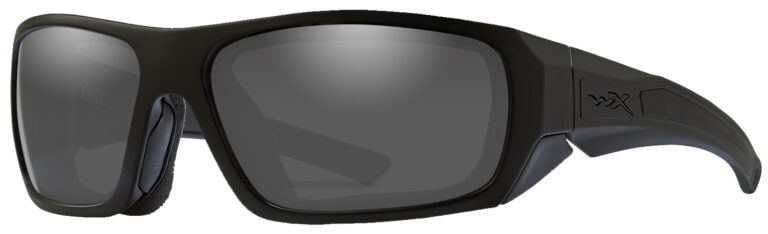 Wiley X Enzo in Matte Black Frame with Smoke Grey Lens, Angled to the Side Left