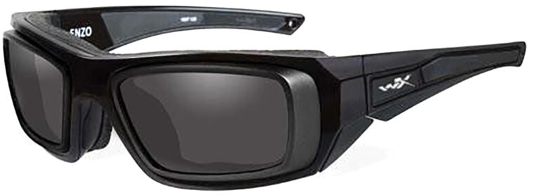 Wiley X Enzo in Matte Black Frame with Smoke Grey Lens with RX Insert, Angled to the Side Left