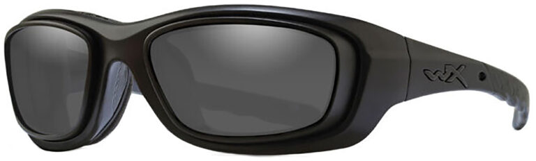 Wiley X Gravity RX Rim Sunglasses in Black Ops Matte Black Frame with Smoke Grey Lenses, Angled to the Side Left