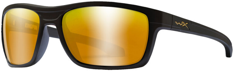 Wiley X Kingpin Matte Black Frame with Polarized Venice Gold Mirror Lens, Angled to the Side Left