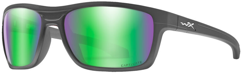 Wiley X Kingpin Matte Graphite Frame with Captivate Polarized Green Mirror Lens, Angled Side Left