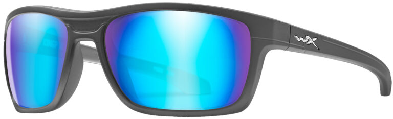 Wiley X Kingpin Matte Graphite Frame with Polarized Blue Mirror Lens, Angled Side Left