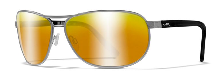 Wiley X Klein in Gunmetal Frame with Polarized Venice Gold Mirror Amber Lenses, Angled to the Side Left