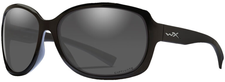 Wiley X Mystique in Gloss Black Frame with Captivate Polarized Grey Lens, Angled to the Side Left