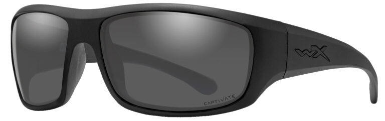 Wiley X Omega in Matte Black Frame with Captivate Polarized Gray Lenses, Angled to the Side Left, WX-ACOME08
