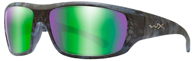 Wiley X Omega in Kryptek Neptune Frame with Polarized Emerald Mirror Amber Lenses, Angled to the Side Left, WX-ACOME13