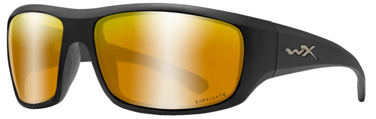 Wiley X Omega in Matte Black Frame with Captivate Bronze Mirror Lenses, Angled to the Side Left, WX-ACOME04