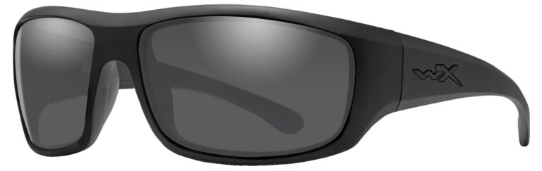 Wiley X Omega in Matte Black Frame with Gray Lenses, Angled to the Side Left, WX-ACOME01