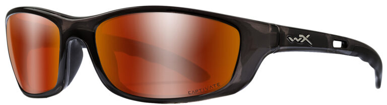 Wiley X-P-17 in Black Crystal Frame with Polarized Red Mirror Lenses, Angled to the Side Left