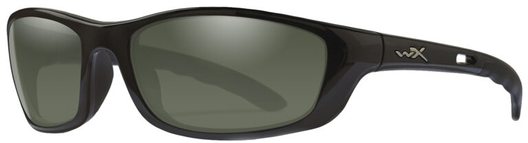 Wiley X-P-17 in Gloss Black Frame with Polarized Smoke Grey Lenses, Angled to the Side Left