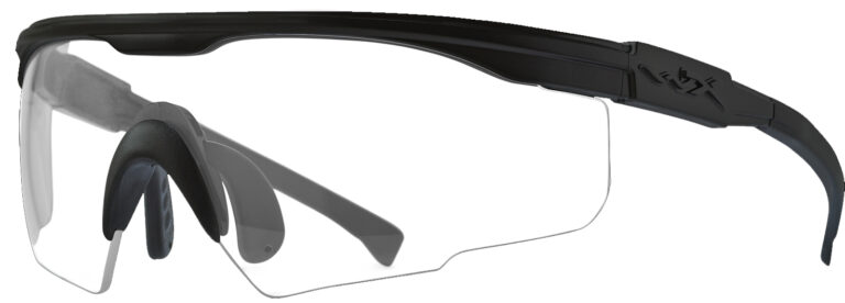 Wiley X PT-1 in Matte Black with Clear Lens Angled to the Side Left