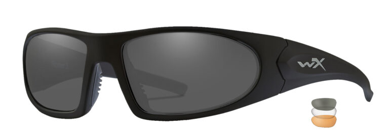 Wiley X Romer 3 in Matte Black Frame with smoke Grey, Clear, and Light Rust Lens, Angled to the Side Left