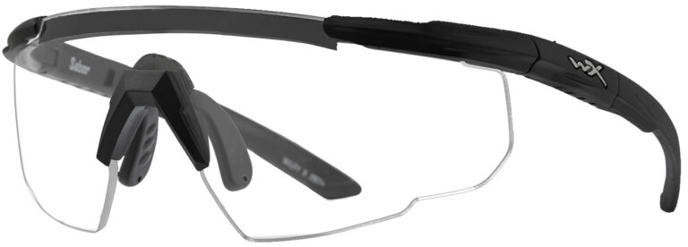 Wiley X Saber in Matte Black Frame with Clear Lenses, Angled to the Side Left
