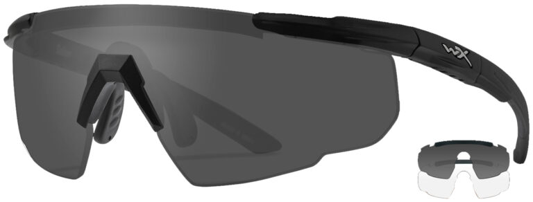 Wiley X Saber in Matte Black Frame with Smoke Grey and Clear Lenses, Angled to the Side Left