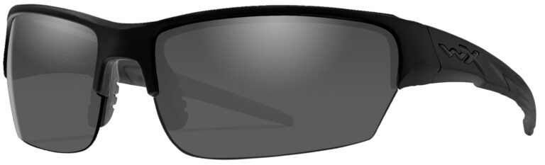Wiley X Saint in Black Ops Matte Black Frame with Smoke Grey Lenses, Angled to the Side Left