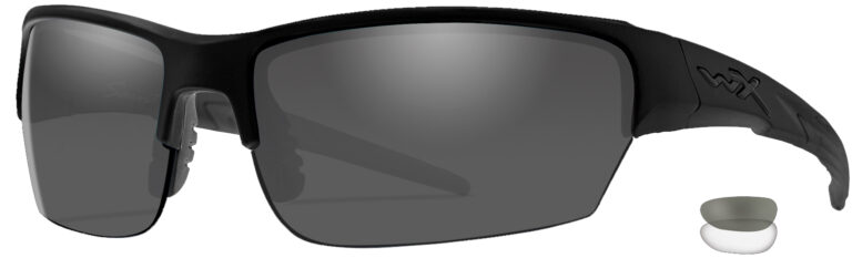 Wiley X Saint in Matte Black Frame with Smoke Grey and Clear Lenses, Angled to the Side Left