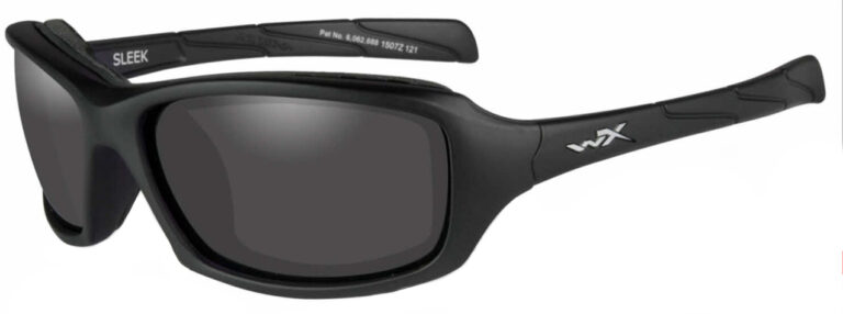 Wiley X Sleek in Matte Black Frame with Smoke Grey Lenses, Angled to the Side Left