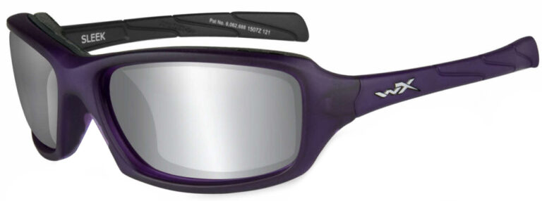 Wiley X Sleek in Matte Violet Frame with Gray Silver Flash Lens, Angled to the Side LEft