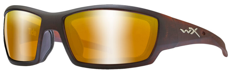 Wiley X Tide Sunglasses in Hickory Frame with Polarized Venice Gold Mirror Lenses, Angled to the Side Left