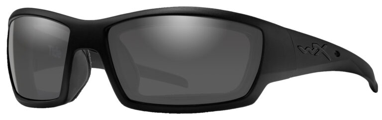 Wiley X Tide Sunglasses in Matte Black Frame with Smoke Grey Lenses, Angled to the Side Left