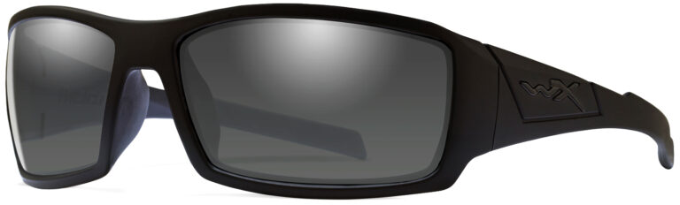 Wiley X Twisted in Alternative Fit in Black Ops Matte Black Frame with Captivate Polarized Grey Lens, Angled to the Side Left