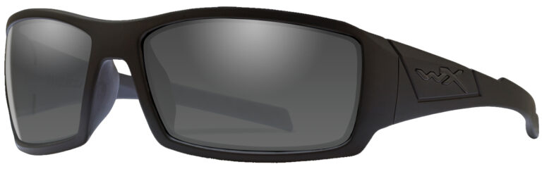 Wiley X Twisted in Black Ops Matte Black Frame with Polarized Smoke Grey Lens, Angled to the Side Left