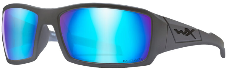 Wiley X Twisted in Matte Grey Frame with Captivate Polarized Blue Mirror Lens, Angled to the Side Left