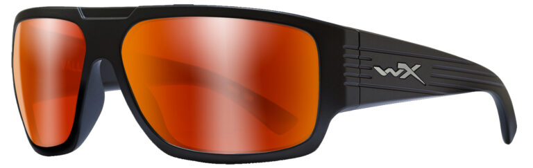 Wiley X Vallus in Matte Black Frame with Polarized Crimson Mirror Lenses, Angled to the Side Left