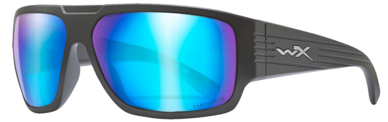 Wiley X Vallus in Matte Graphite Frame with Captivate Polarized Blue Mirror Lens, Angled to the Side Left