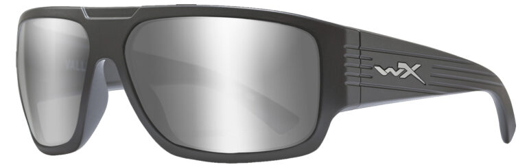 Wiley X Vallus in Matte Graphite Frame with Grey Silver Flash Lens, Angled to the Side Left