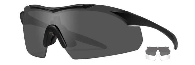 Wiley X Vapor in Matte Black Frame with Smoke Grey and Clear Lenses, Angled to the Side Left