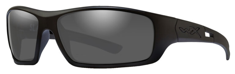 Wiley X in Black Ops Matte Black Frame with Smokey Grey Lens, Angled Side Left