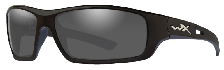 Wiley X in Gloss Black Frame with Polarized Silver Flash Mirror Smoke Grey Tint Lens, Angled Side Left
