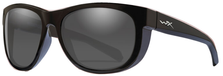Wiley X Weekender in Gloss Black Frame with Grey Lens, Angled to the Side Left