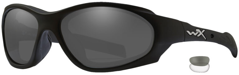 Wiley X XL-1 in Matte Black Frame with Grey and Clear Lenses, Angled to the Side Left