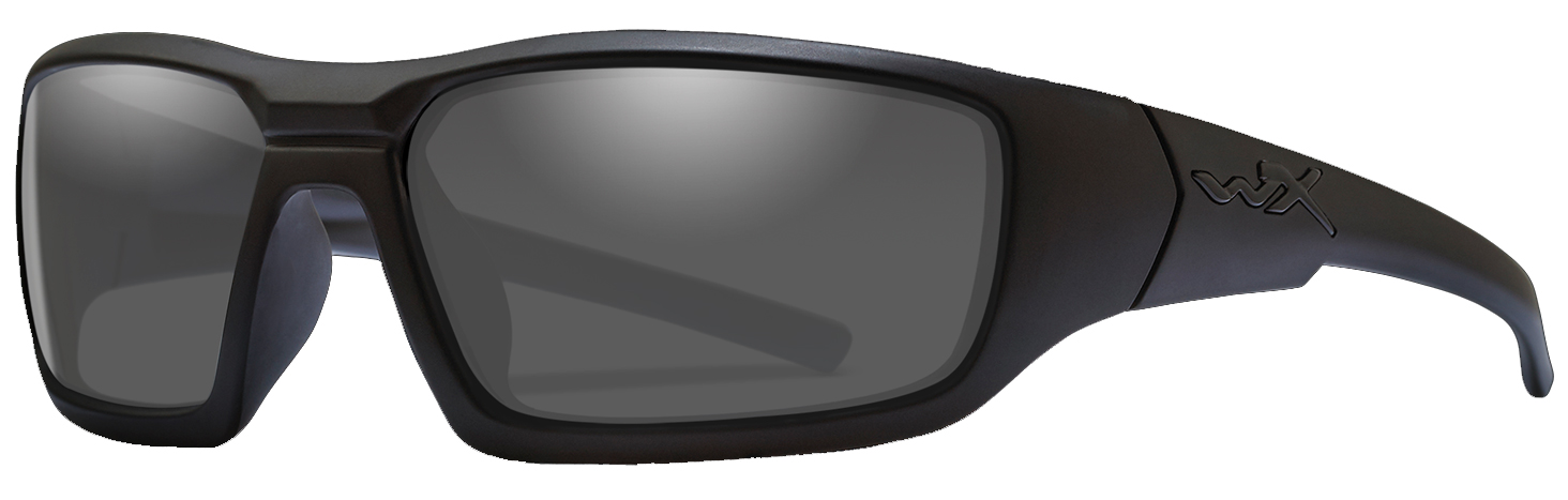 Wiley X Censor in Matte Black Frame with Polarized Grey Lenses, Angled to the Side Left