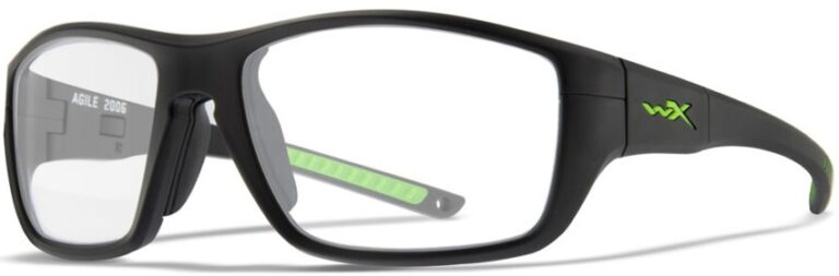 Wiley X Agile Matte Black Frame with Clear Lens, Angled to the Side Left