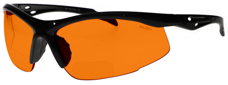 Bifocal Safety Glasses Model 9000 in Black Frame with Dark Orange Lens, Angled to the Left Side, SB-9000-DC