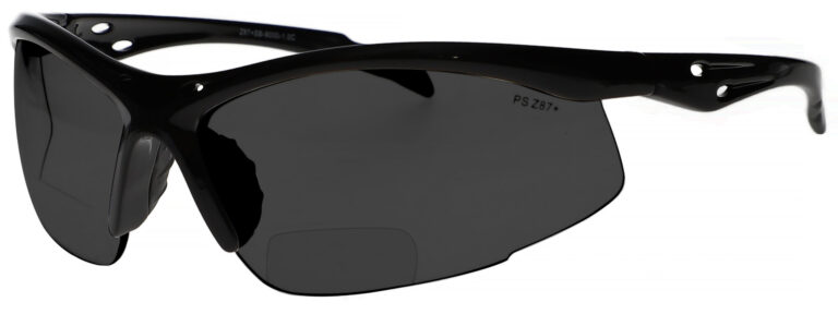 Bifocal Safety Glasses Model 9000 in Black Frame with Smoke Lens, Angled to the Left Side, SB-9000-S