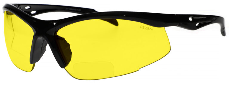 Bifocal Safety Glasses Model 9000 in Black Frame with Yellow Lens, Angled to the Left Side, SB-9000-Y
