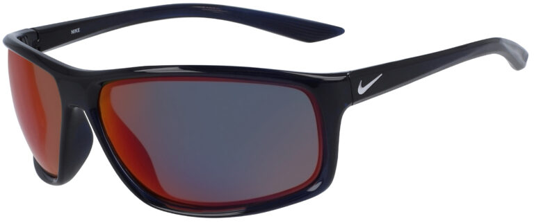 Nike Adrenaline E in Obsidian Pure Platinum Frame with Field Tint Lenses, Angled to the Side Left