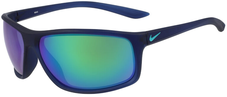Nike Adrenaline M Sunglasses in Matte Midnight Navy/Clear Jade Frame with Green Mirror Lens, Angled to the Side Left