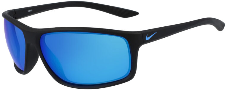 Nike Adrenaline In Matte Black Polar Grey Frame with Blue Mirror Lens, Angled to the Side Left