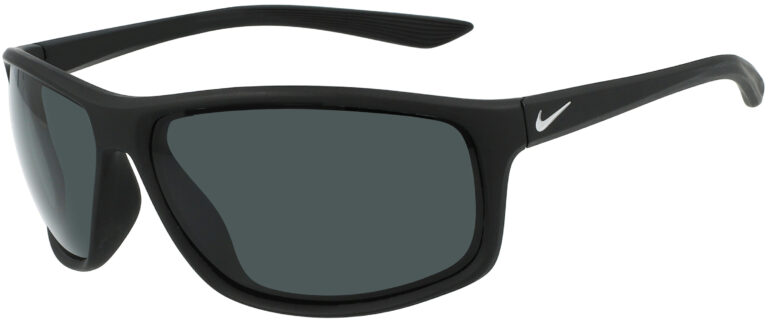 Nike Adrenaline P in Matte Black Silver Frame with Polar Grey Lenses, Angled to the Side Left