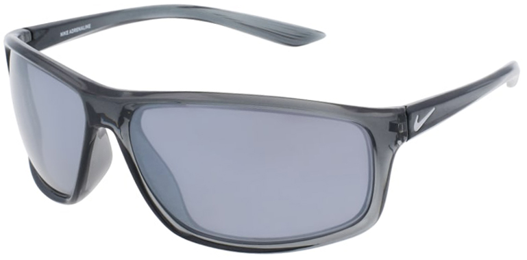 Nike Adrenaline in Dark Gray Frame with Silver Flash Lens Angled to the Left Side