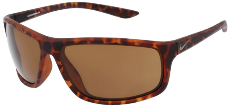 Nike Adrenaline in Matte Tortoise Frame with Brown Lens Angled to the Left Side